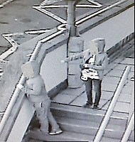 Pictured: CCTV still which captures children in Ferndale, south Wales who were alarmed and hid having been approached by Owain Thomas.<br /> Re: An aspiring barrister who used online gaming accounts to befriend children and incite them to commit sexual acts on camera has been jailed for ten years by Merthyr Crown Court.<br /> Owain Thomas, 29, from Pontypridd, south Wales, used multiple Facebook profiles and three gaming accounts to persuade some of his 146 victims with gaming credits.<br /> He was arrested after he asked two young boys aged eight and six to expose themselves at a playground.<br /> Judge Richard Twomlow said he will have to serve an extra five years on extended licence.