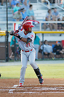 Greeneville Reds outfielder Reniel Ozuna (27) at bat during a game against the Burlington Royals at the Burlington Athletic Complex on July 7, 2018 in Burlington, North Carolina. Burlington defeated Greeneville 2-1. (Robert Gurganus/Four Seam Images)