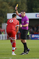 Tom Dallison-Lisbon of Crawley Town receives a yellow card during Crawley Town vs Sutton United, Sky Bet EFL League 2 Football at The People's Pension Stadium on 16th October 2021