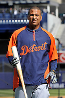 Apr 02, 2011; Bronx, NY, USA; Detroit Tigers catcher Victor Martinez (41) before game against the New York Yankees at Yankee Stadium. Yankees defeated the Tigers 10-6. Mandatory Credit: Tomasso De Rosa