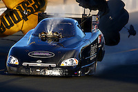 Jul. 25, 2014; Sonoma, CA, USA; Fuel comes out the injector scoop on the car of NHRA funny car driver John Hale during qualifying for the Sonoma Nationals at Sonoma Raceway. Mandatory Credit: Mark J. Rebilas-