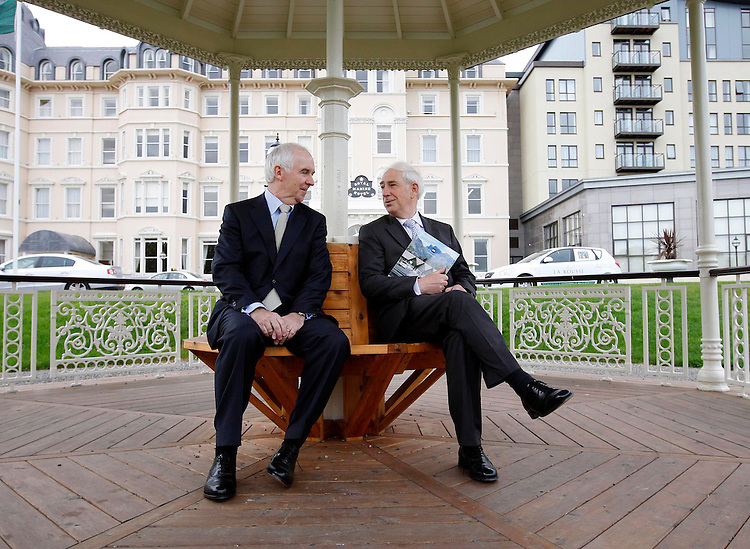Myles Lee, Chief Executive (left) and Kieran McGowan, Chairman of CRH Plc., pictured here prior to the Annual General Meeting of the company held in the Royal Marine Hotel, Dun Laoghaire, Co. Dublin. Pic. Robbie Reynolds.