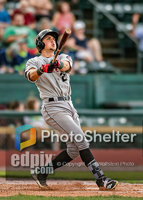 21 July 2019: Tri-City ValleyCat designated hitter Nathan Perry in action against the Vermont Lake Monsters at Centennial Field in Burlington, Vermont. The Lake Monsters rallied to defeat the ValleyCats 6-3 in NY Penn League play. Mandatory Credit: Ed Wolfstein Photo *** RAW (NEF) Image File Available ***