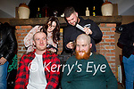 Brian O'Shea and Luke Fitzgerald from Currans having their heads shaved for their fundraiser for Kerry Parents and Friends Association in Currans on Saturday night by Caroline O'Sullivan and Padraig O'Brien. L to r: Caroline O'Sullivan, Luke Fitzgerald, Brian O'Shea and Padraig O'Brien