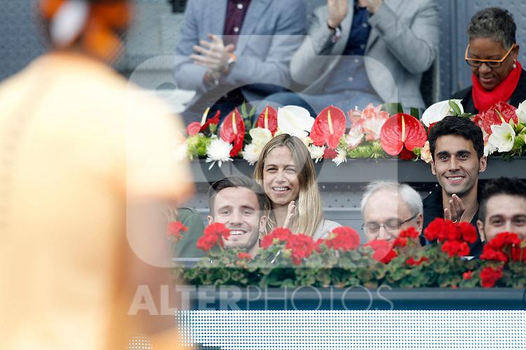 Atletico de Madrid's Saul Niguez, spanish model Matina Klein and Real Madrid's Alvaro Arbeloa during Madrid Open Tennis 2016 match.May, 6, 2016.(ALTERPHOTOS/Acero)