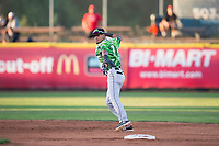 Eugene Emeralds shortstop Luis Vazquez (7) prepares to make a throw to first base during a Northwest League game against the Salem-Keizer Volcanoes at Volcanoes Stadium on August 31, 2018 in Keizer, Oregon. The Eugene Emeralds defeated the Salem-Keizer Volcanoes by a score of 7-3. (Zachary Lucy/Four Seam Images)