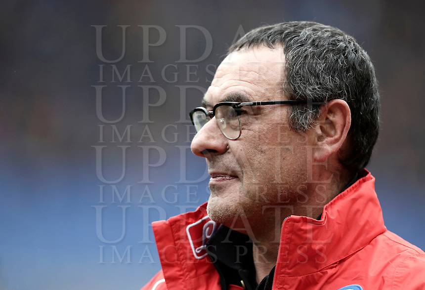 Napoli's coach Maurizio Sarri waits for the start of the Italian Serie A football match between Roma and Napoli at Rome's Olympic stadium, 4 March 2017. <br /> UPDATE IMAGES PRESS/Isabella Bonotto