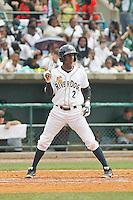 Charleston RiverDogs infielder Jorge Mateo (2) at bat during a game against the Augusta GreenJackets at Joseph P.Riley Jr. Ballpark on April 15, 2015 in Charleston, South Carolina. Charleston defeated Augusta 8-0. (Robert Gurganus/Four Seam Images)
