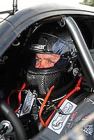 Sept. 5, 2011; Claremont, IN, USA: NHRA pro mod driver Eric Dillard during the US Nationals at Lucas Oil Raceway. Mandatory Credit: Mark J. Rebilas-