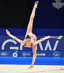 Wales Laura Halford during her floor routine<br /> <br /> Photographer Ian Cook/Sportingwales<br /> <br /> 20th Commonwealth Games - Day 1 - Thursday 24th July 2014 - Team Final Ribbon - Gymnastics  - SEEC Hydro -  Glasgow - UK