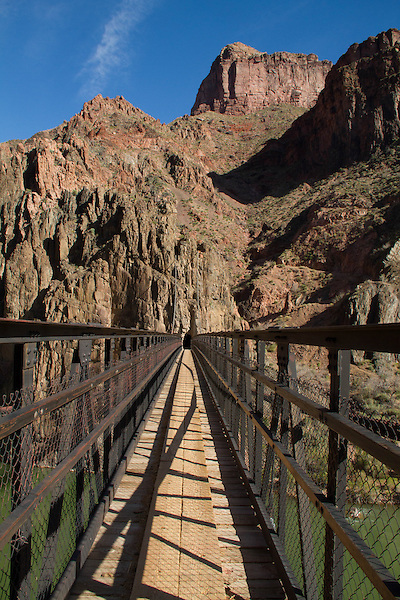 South Kaibab Trail and Black Bridge crossing the Colorado River, Grand Canyon, Arizona. . John offers private photo tours in Grand Canyon National Park and throughout Arizona, Utah and Colorado. Year-round.