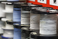 Pictured: Cable reels at Spectrum Technologies in Bridgend, Wales, UK. Wednesday 19 February 2020<br /> Re: The effect of the Ford factory closure will have to Bridgend in south Wales, UK.