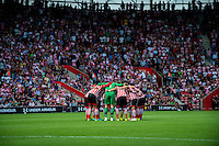 Southampton team huddle ahead of the Premier League match between Southampton and Swansea City  at St Mary's Stadium in Southampton, England, UK. Saturday 17 September 2016