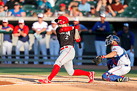 Chattanooga Lookouts third baseman Robbie Tenerowicz (2) at bat against the Tennessee Smokies at Smokies Stadium on June 18, 2021, in Kodak, Tennessee. (Danny Parker/Four Seam Images)