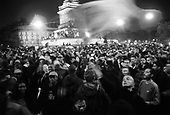 Paris, France.May 5, 2002..Crowds gather into the night at Bastille to celebrate the victory of French president elect Jacque Chirac over far right leader Jean-Marie Le Pen.