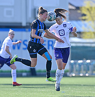 Charlotte Laridon (15) of Club Brugge pictured fighting for the ball with Laura De Neve (8) of Anderlecht during a female soccer game between Club Brugge Dames YLA and RSC Anderlecht on the fourth matchday in Play-Off 1 of the 2020 - 2021 season of Belgian Scooore Womens Super League , saturday 1st May 2021  in Brugge , Belgium . PHOTO SPORTPIX.BE | SPP | DAVID CATRY