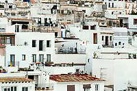 Crowded condos in Ibiza Town Eivissa, Balearic Islands, Spain.
