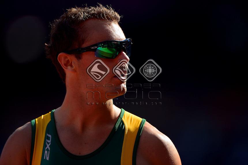 Scott Reardon (AUS)  heats<br /> Athletics: Men's 100m T-42<br /> Olympic Stadium (Friday 7 Sept)<br /> Paralympics - Summer / London 2012<br /> London England 29 Aug - 9 Sept <br /> © Sport the library / Jeff Crow