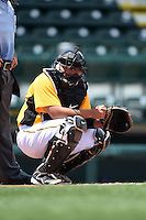 Bradenton Marauders catcher Jin-De Jhang (47) looks to the bench during a game against the St. Lucie Mets on April 12, 2015 at McKechnie Field in Bradenton, Florida.  Bradenton defeated St. Lucie 7-5.  (Mike Janes/Four Seam Images)