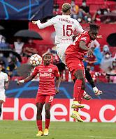 14th September 2021; Sevilla, Spain: UEFA Champions League football,  Sevilla FC versus RB Salzburg;  Youssef En-Nesyri of Sevilla and Oumar Solet of Salzburg in action