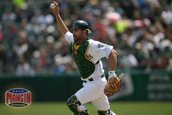 OAKLAND, CA - APRIL 11:  Jason Kendall of the Oakland Athletics in action during the game against the Chicago White Sox at the McAfee Coliseum in Oakland, California on April 11, 2007. (Photo by Brad Mangin)