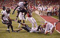 NWA Democrat-Gazette/BEN GOFF @NWABENGOFF<br /> Hunter Henry (right), Arkansas tight end, lands after a catch in the end zone in the fourth quarter on Saturday Sept. 19, 2015 during the game against Texas Tech in Razorback Stadium in Fayetteville. The pass was called back on a penalty.