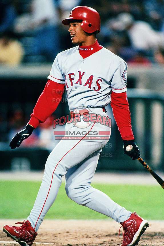 Royce Clayton of the Texas Rangers during a game against the Anaheim Angels at Angel Stadium circa 1999 in Anaheim, California. (Larry Goren/Four Seam Images)