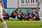 v.l. Waldhofs Arianit Ferati (Nr.10), der Torschuetze Waldhofs Marcel Costly (Nr.17), Waldhofs Anton-Leander Donkor (Nr.19), Waldhofs Rafael Garcia (Nr.16), Waldhofs Max Christiansen (Nr.13) und Waldhofs Dominik Martinovic (Nr.11) bejubeln das 2:0 beim Spiel in der 3. Liga, SV Waldhof Mannheim - FC Ingolstadt.<br /> <br /> Foto © PIX-Sportfotos *** Foto ist honorarpflichtig! *** Auf Anfrage in hoeherer Qualitaet/Aufloesung. Belegexemplar erbeten. Veroeffentlichung ausschliesslich fuer journalistisch-publizistische Zwecke. For editorial use only. DFL regulations prohibit any use of photographs as image sequences and/or quasi-video.