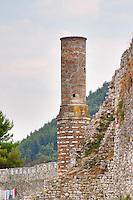 Ruins of the 'Red Mosque' Berat upper citadel old walled city. Albania, Balkan, Europe.