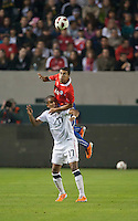 CARSON, CA – JANUARY 22: USA forward Juan Agudelo (17) and Paulo Magalhaes (16) during the international friendly match between USA and Chile at the Home Depot Center, January 22, 2011 in Carson, California. Final score USA 1, Chile 1.