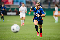 TACOMA, WA - JULY 31: Eugenie Le Sommer #9 of the OL Reign chases the ball during a game between Racing Louisville FC and OL Reign at Cheney Stadium on July 31, 2021 in Tacoma, Washington.