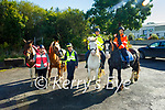 Ready to take to the road with their safety campaign for horses and riders on the road, Stay Wide, Stay Safe in Milltown on Sunday. L to r: Philippe Christie with Flicker, Tori Kavanagh with Teddy, Maggie Sieber with Lotus, Jelsha Sieber with Belle.
