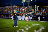 Jack Cantwell performs the national anthem before a Reading Fightin Phils Eastern League game against the Trenton Thunder on August 16, 2019 at FirstEnergy Stadium in Reading, Pennsylvania.  Trenton defeated Reading 7-5.  (Mike Janes/Four Seam Images)