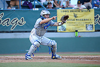 Dempsey Grover (20) of the UC Santa Barbara Gauchos waits for the throw home during a game against the Cal State Long Beach Dirtbags at Blair Field on April 1, 2016 in Long Beach, California. UC Santa Barbara defeated Cal State Long Beach, 4-3. (Larry Goren/Four Seam Images)