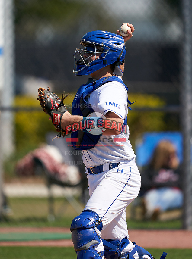 IMG Academy Ascenders Blue catcher Jaden Humphreys (27) during a game against the Carrollwood Day Patriots on February 20, 2021 at IMG Academy in Bradenton, Florida.  (Mike Janes/Four Seam Images)