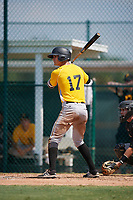 Pittsburgh Pirates Jared Oliva (17) at bat during an Instructional League intrasquad black and gold game on September 28, 2017 at Pirate City in Bradenton, Florida.  (Mike Janes/Four Seam Images)