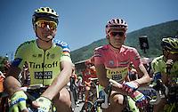 maglia rosa Alberto Contador (ESP/Tinkoff-Saxo) and  teammate Ivan Basso (ITA/Tinkoff-Saxo) at the start<br /> <br /> stage 17: Tirano - Lugano (SUI) (134km)<br /> 2015 Giro d'Italia