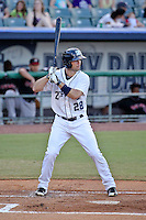 New Orleans Zephyrs right fielder Cole Gillespie (28) at bat against the Albuquerque Isotopes in a game at Zephyr Field on May 28, 2015 in Metairie, Louisiana. (Derick E. Hingle/Four Seam Images)