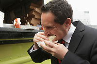 Montreal - CANADA - File Photo - Montreal Mayor Michael Applebaum sample Grunman 78  truck's street food, April 9, 2013.<br /> <br /> On June 17, 2013 he was arrested and indicted on 14 charges including fraud, conspiracy, breach of trust, and corruption in municipal affairs.<br /> <br /> Photo : Agence Quebec Presse - Pierre Roussel