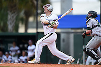University of the Sciences Devils first baseman Pat Hiester (22) at bat during a game against Slippery Rock on March 6, 2015 at Jack Russell Memorial Stadium in Clearwater, Florida.  Slippery Rock defeated University of the Sciences 6-3.  (Mike Janes/Four Seam Images)