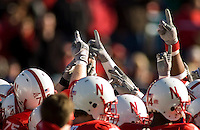 01 January 2007: Nebraska players get pumped up before the 2007 AT&T Cotton Bowl Classic between The University of Auburn and The University of Nebraska at The Cotton Bowl in Dallas, TX.