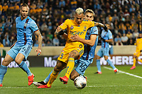 HARRISON, NJ - MARCH 11: Eduardo Vargas #9 of Tigres UANL is defended by Maxime Chanot #4 and James Sands #16 of NYCFC during a game between Tigres UANL and NYCFC at Red Bull Arena on March 11, 2020 in Harrison, New Jersey.