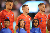 EAST RUTHERFORD, NJ - SEPTEMBER 7: Aaron Long #3 of the United States, Wil Trapp #6 of the United States,Tyler Boyd #21 of the United States during the presentation of the team during a game between Mexico and USMNT at MetLife Stadium on September 6, 2019 in East Rutherford, New Jersey.