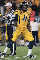 WVU defensive end Bruce Irvin celebrates a sack. The West Virginia Mountaineers defeated the South Florida Bulls 20-6 on October 14, 2010 at Mountaineer Field, Morgantown, West Virginia.
