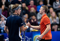 Alphen aan den Rijn, Netherlands, December 16, 2018, Tennispark Nieuwe Sloot, Ned. Loterij NK Tennis, Final men: Scott Griekspoor (NED)  wins te tournament and is congratulated by runner up Jelle Sels (NED) (R)<br /> Photo: Tennisimages/Henk Koster