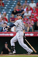 Seattle Mariners first baseman Justin Smoak #17 bats against the Los Angeles Angels at Angel Stadium on July 9, 2011 in Anaheim,California. (Larry Goren/Four Seam Images)