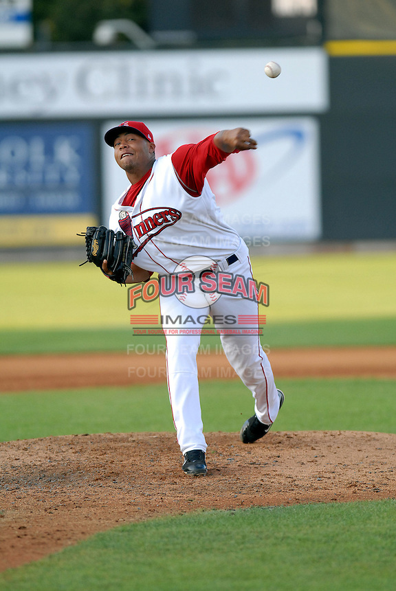 LHP Cesar Cabral of the Lowell Spinners, the short season A (NY-P) affiliate of the Boston Red Sox ,at LeLacheur Park in Lowell, MA 8-30-09 (Photo by Ken Babbitt/Four Seam Images)