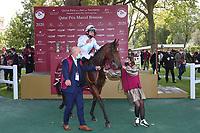 4th October 2020, Longchamp Racecourse, Paris, France; Qatar Prix de l Arc de Triomphe;  Tiger Tanaka - Jessica Marcialis