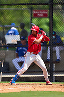 Philadelphia Phillies Leandro Pineda (2) bats during an Extended Spring Training game against the Toronto Blue Jays on June 12, 2021 at the Carpenter Complex in Clearwater, Florida. (Mike Janes/Four Seam Images)