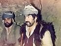 Iraq 1978 .In a cave, in Hazarastun, Hama Haji Mahmoud with a peshmerga  .Irak 1978 .Dans une grotte a Hazarastun, Hama Haji Mahmoud avec un peshmerga